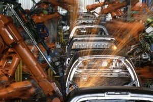 Robots Working In Car Industry